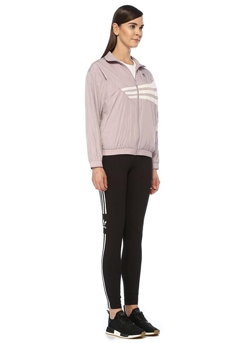 Lila Dik Yaka Colorblock Fermuarlı Sweatshirt