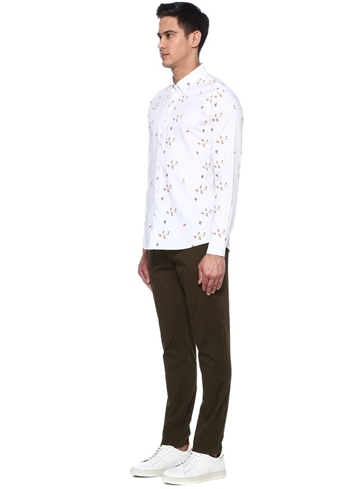Slim fit Beyaz Sörfçü Desenli Gömlek