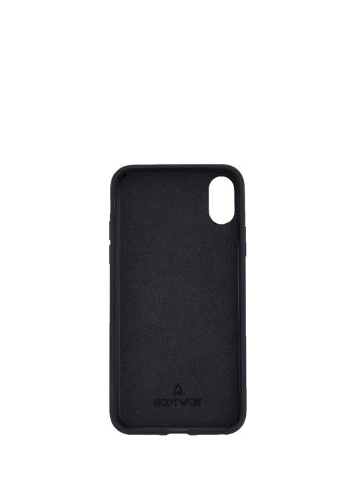 Siyah Dokulu iPhone X XS Deri Telefon Kılıfı