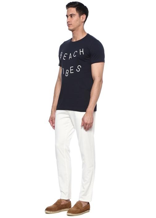 Beach Vibes Siyah Bisiklet Yaka Sloganlı T-shirt