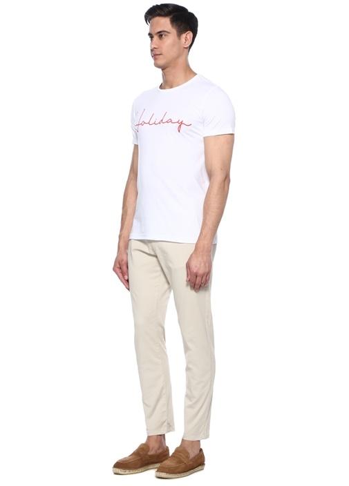 Holiday Beyaz Bisiklet Yaka Slogan Baskılı T-shirt