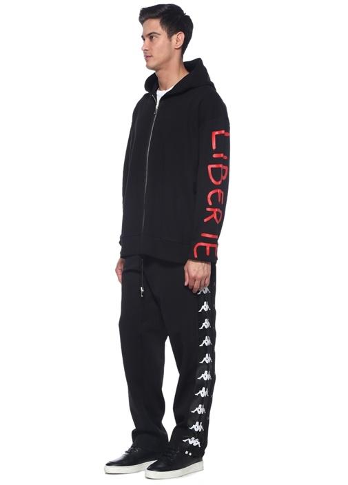 Siyah Kenarları Çıtçıtlı Garnili Bol Paça Pantolon
