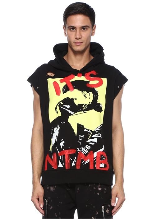 Siyah Kapüşonlu Kol Detaylı Baskılı Sweatshirt