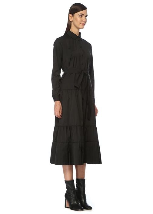 Siyah Fırfır Detaylı Midi Gömlek Elbise