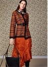 Turuncu Çiçek Jakarlı Volanlı Midi Anvelop Elbise