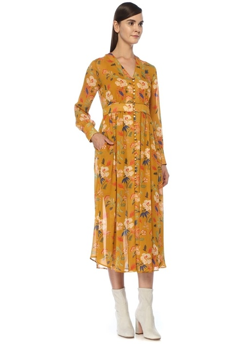 Sarı V Yaka Çiçekli Önü Düğmeli Midi Şifon Elbise