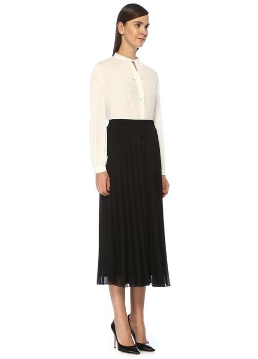 Siyah Pileli Etek Formlu Crop Şifon Pantolon