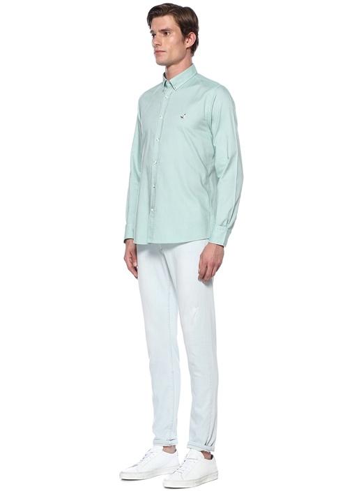 Slim Fit Yeşil Düğmeli Yaka Gömlek
