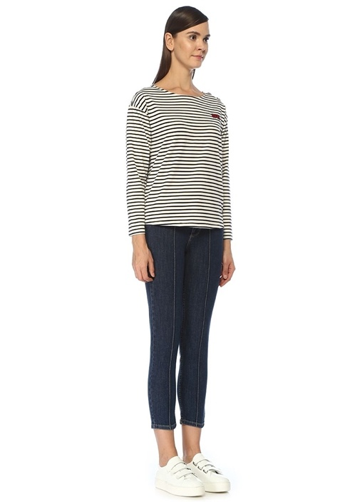 Lacivert Beyaz Çizgili Nakış Detaylı Sweatshirt