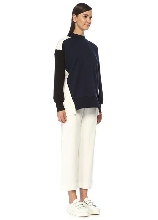 Lacivert Beyaz Dik Yaka Bloklu Sweatshirt