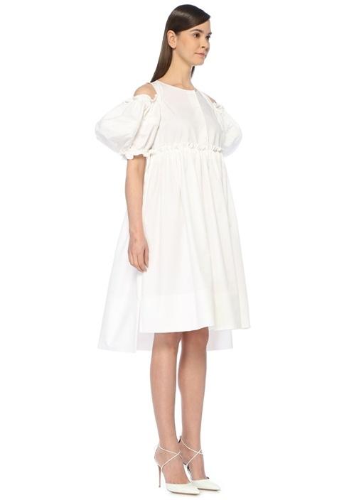 Beyaz Omzu Açık Balon Kol Midi Poplin Elbise