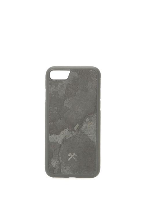 Antrasit Taş Dokulu iPhone 7 8 Telefon Kılıfı
