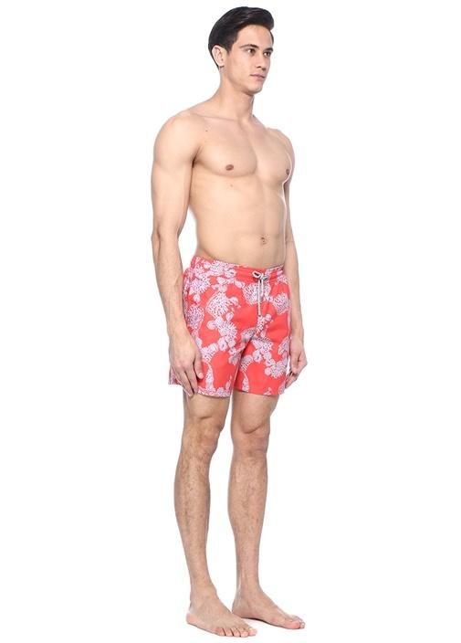 Coral Kırmızı Baskılı Erkek Şort