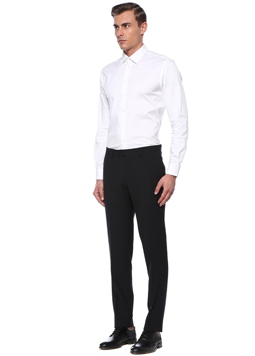 Drop 8 Siyah Normal Bel Dokulu Yün Pantolon