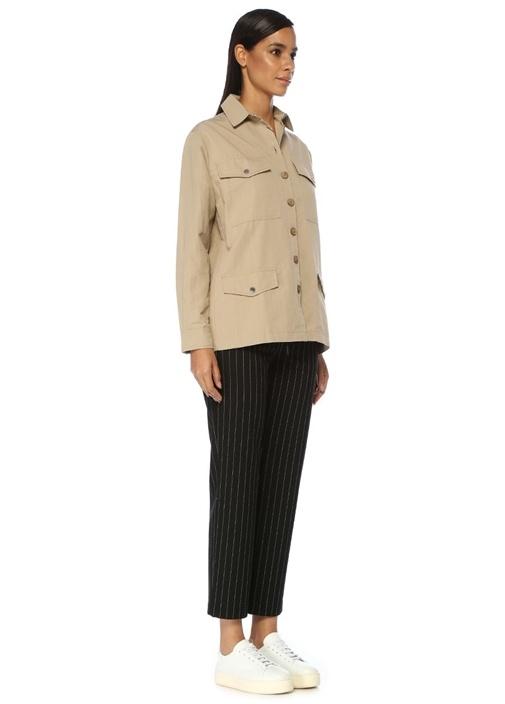 Bej İngiliz Yaka Düğmeli Safari Ceket