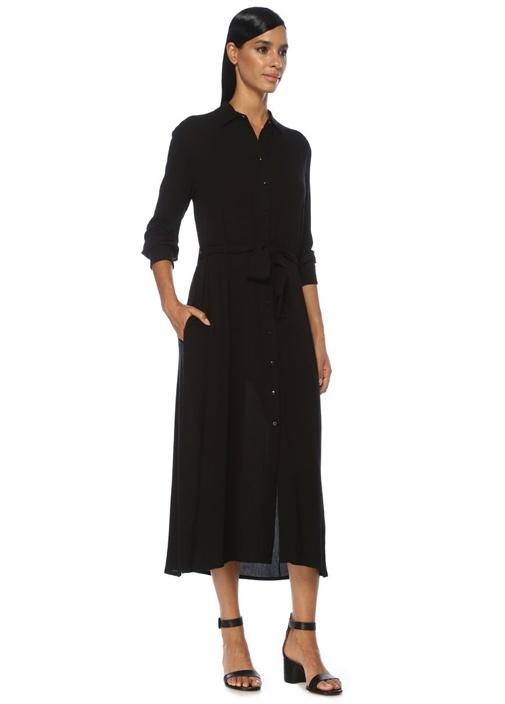 Siyah Beli Kuşaklı Yırtmaçlı Midi Gömlek Elbise