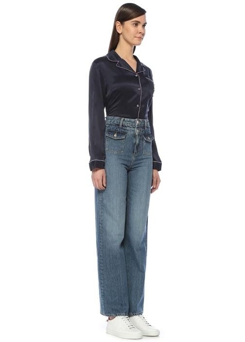 Yüksek Bel Nakış Detaylı Wide Leg Jean Pantolon