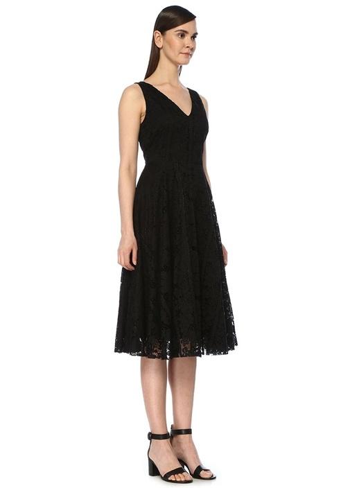 Siyah V Yaka Kolsuz Midi Dantel Elbise