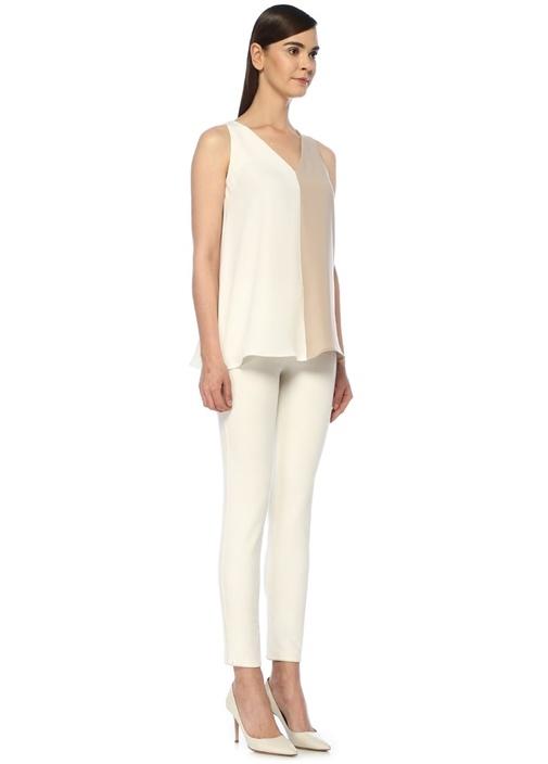 Bej Beyaz V Yaka Bloklu Kolsuz Bluz