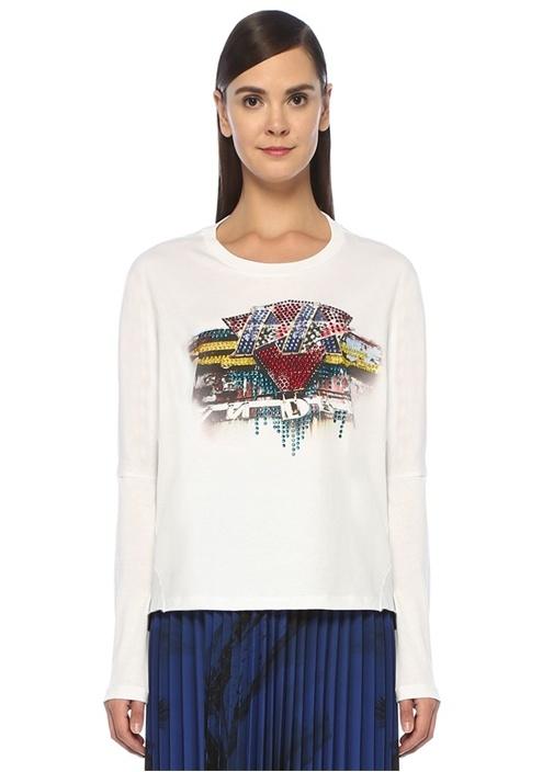 Beyaz Taş Baskılı Kesim Detaylı Uzun Kol T-shirt