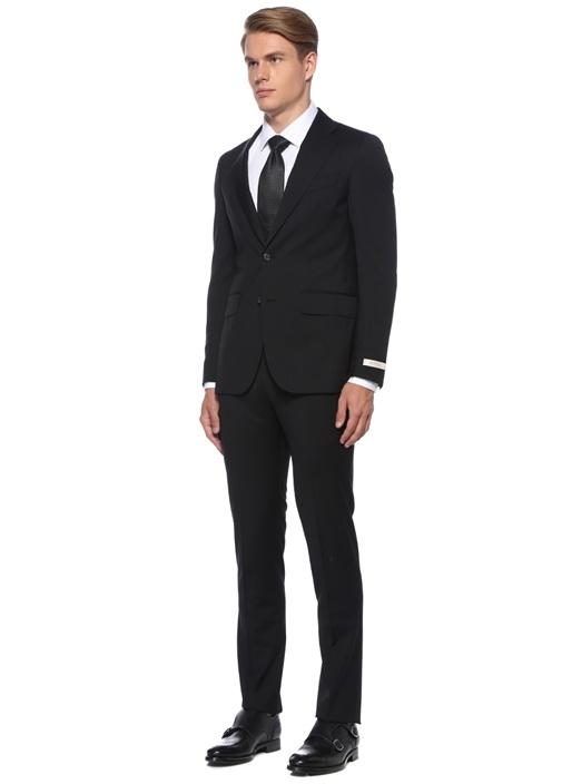 Drop 7 Siyah Çizgili Yün Takım Elbise