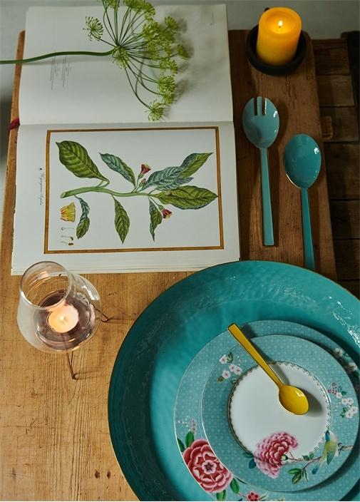 Blushing Birds Çiçekli Porselen Tabak