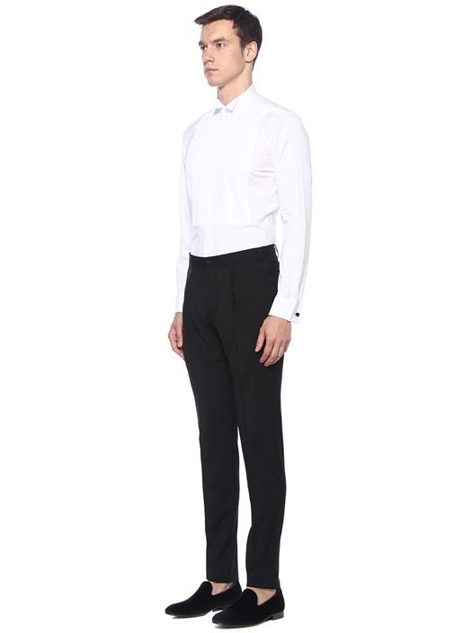 Beyaz Nervürlü Smokin Gömleği