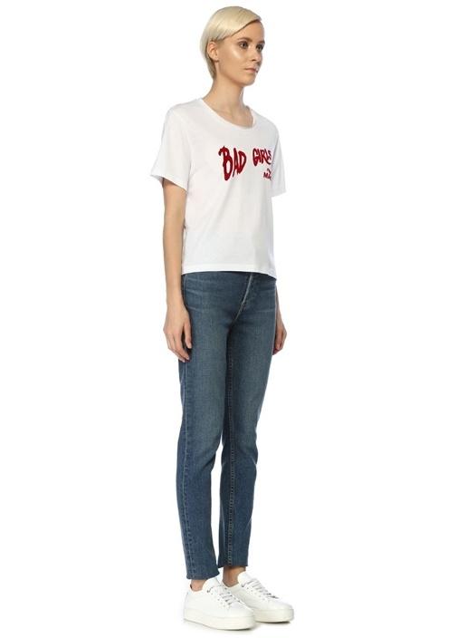 Bad Girls Beyaz Baskılı T-shirt
