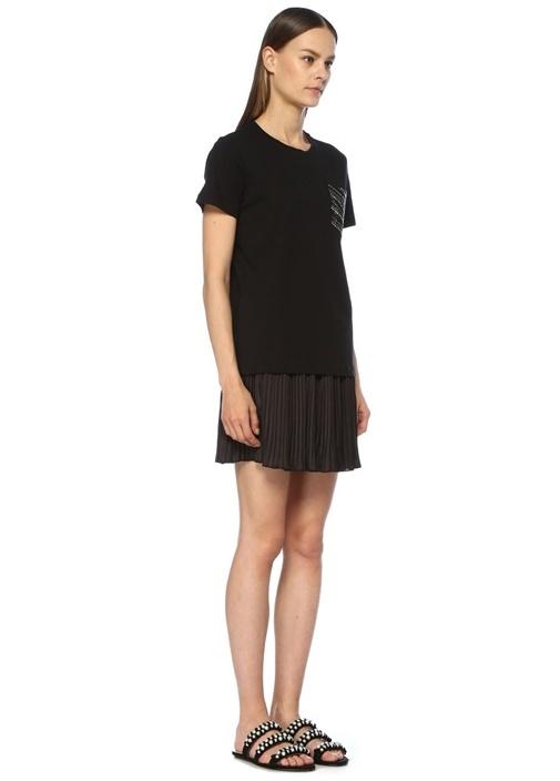 Siyah Cebi İşleme Detaylı T-shirt