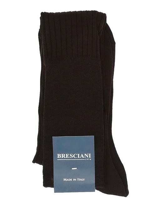 Kahverengi Ribli Logo Jakarlı Erkek Uzun Çorap