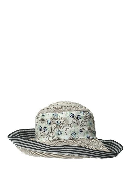 Bej Lacivert Garni Detaylı Çizgi DokuluErkek Şapk
