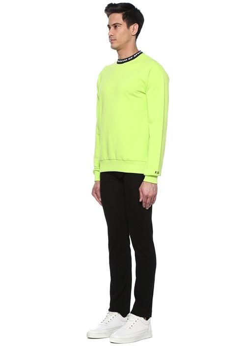 Neon Yeşil Bisiklet Yaka Logo Jakarlı Sweatshirt