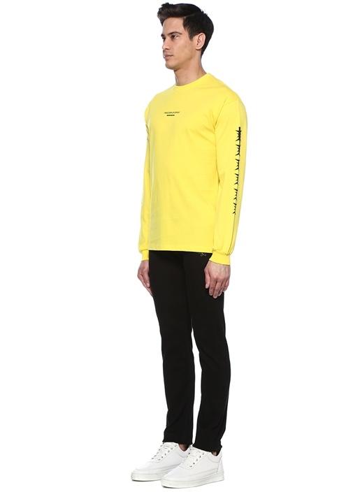 Sarı Bisiklet Yaka Logolu Sweatshirt