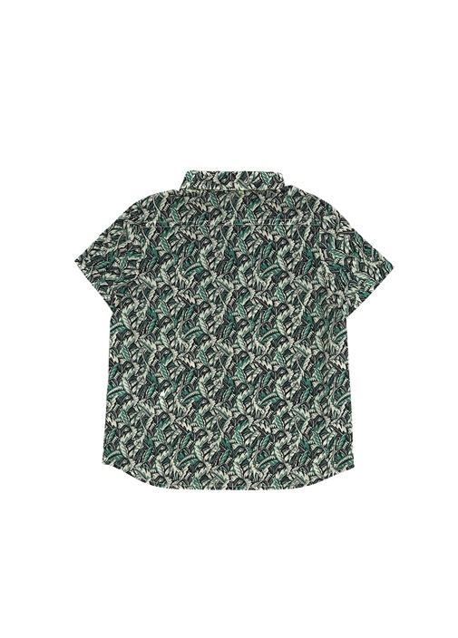 Yeşil Yaprak Desenli Erkek Çocuk Gömlek