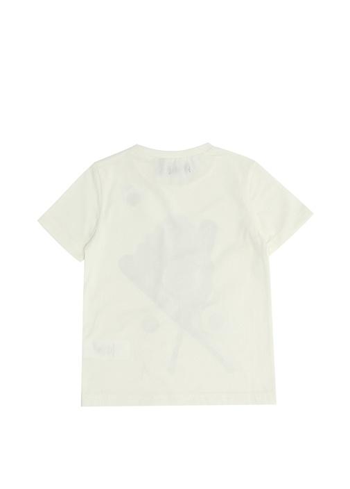 Beyaz Baskılı Patch Detaylı Erkek ÇocukT-shirt