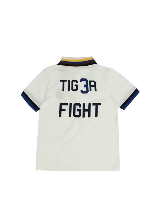 Beyaz Polo Yaka Nakışlı Erkek Çocuk T-shirt