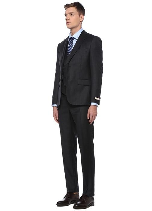 Drop 8 Antrasit Kruvaze Yelekli Yün Takım Elbise