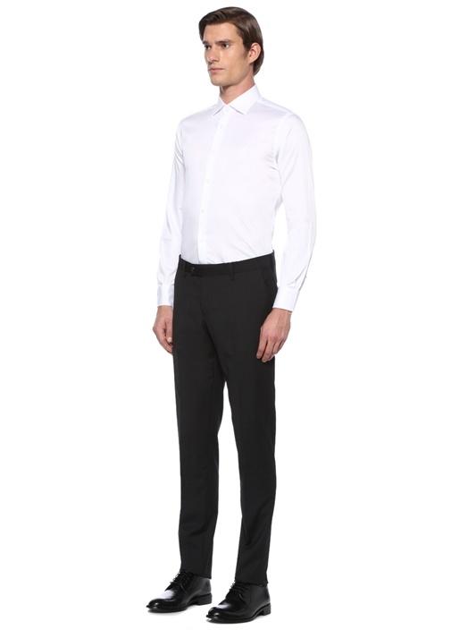 Slim Fit Beyaz Klasik Yaka Saten Stretch Gömlek