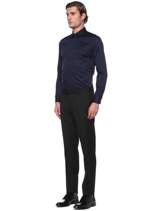 Slim Fit Lacivert Modern Yaka Saten Stretch Gömlek