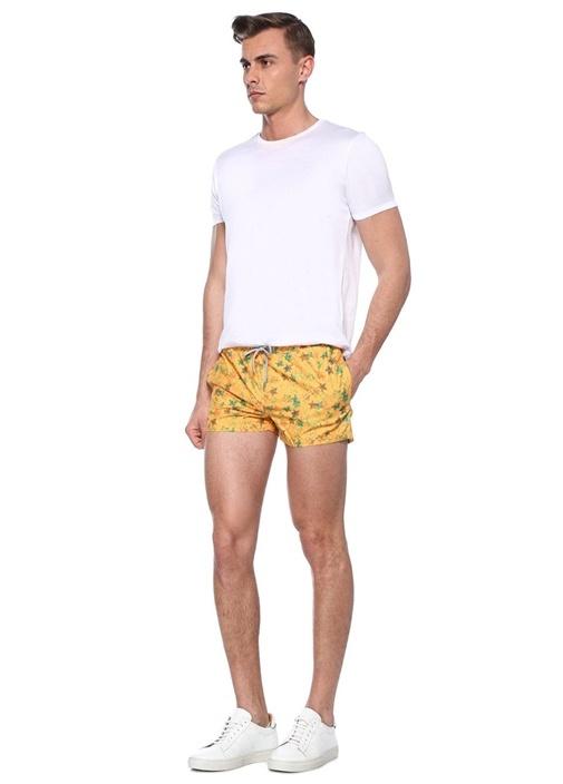 Slim Fit Scott Sarı Yıldız Desenli Mayo