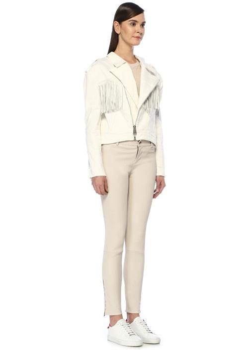 Karlie Beyaz Yıpratmalı Püskül Detaylı Denim Ceket