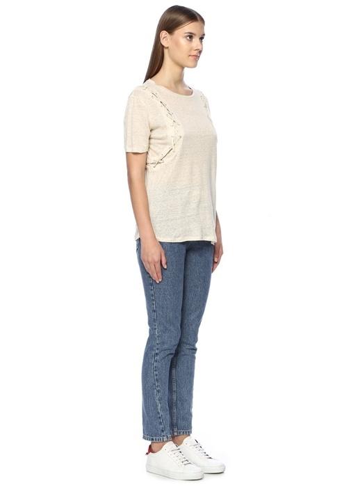 Grace Bej Kuşgözü Detaylı Keten T-shirt