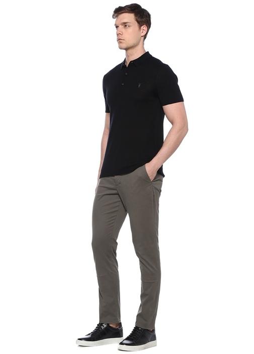 Mode Siyah Logo Nakışlı Polo Yaka Yün T-shirt