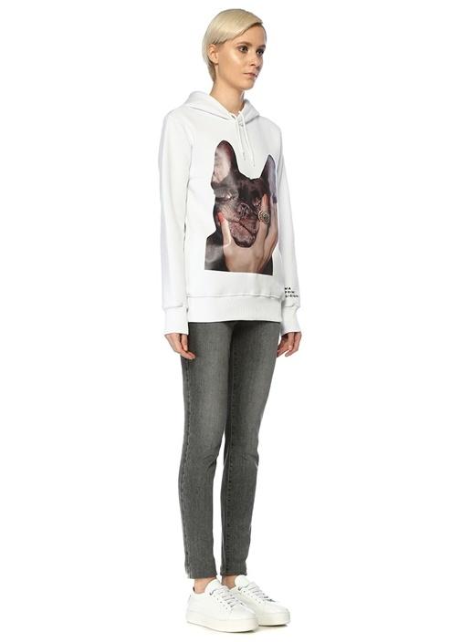 Frenchie Queen Beyaz Kapüşonlu Baskılı Sweatshirt