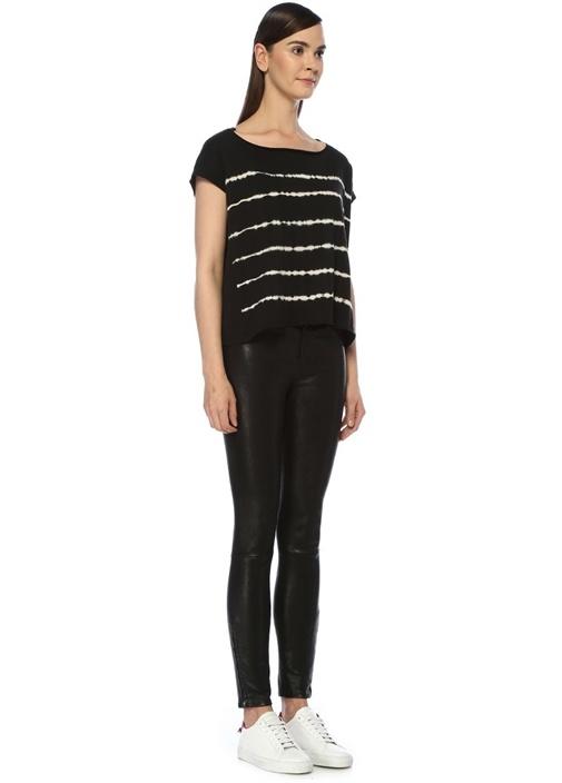 Tystripe Pina Siyah Kayık Yaka Çizgili T-shirt