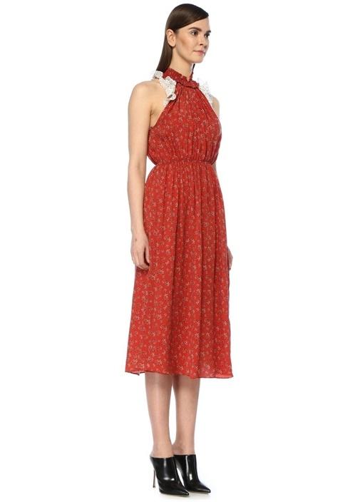 Shelly Kırmızı Halter Yaka Fırfırlı Midi Elbise