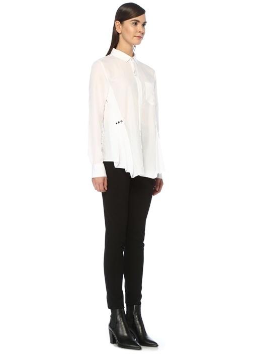 Slim Fit Beyaz Kuşgözü Detaylı Pileli Gömlek