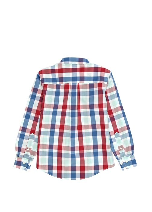 Colorblocked Kareli Unisex Çocuk Gömlek