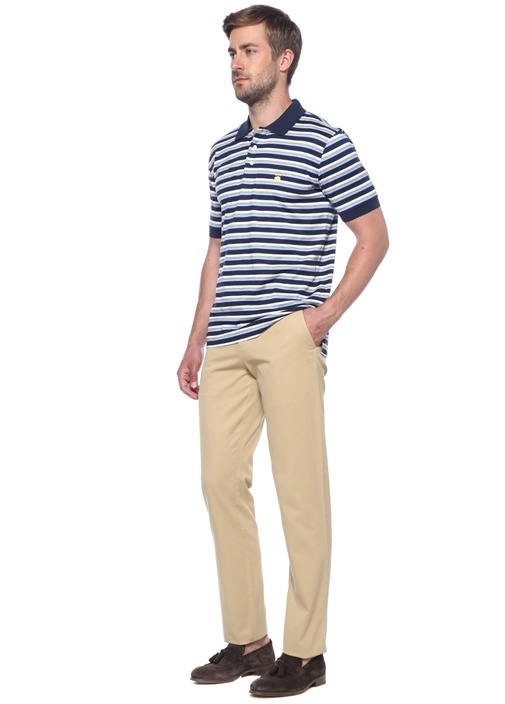 Lacivert Çizgili Polo Yaka T-shirt