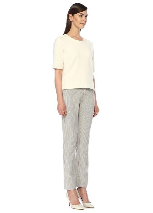 Beyaz Normal Bel Çizgili Dar Paça Pantolon